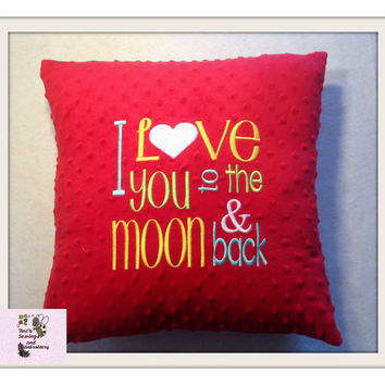 I Love you to the moon & back Pillow , Minky Pillow , moon Pillow , Baby Shower Gift , Red Minky Pillow