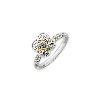 Sterling Silver, 14k Gold Plated & Diamond Stackable 9mm Ornate Ring