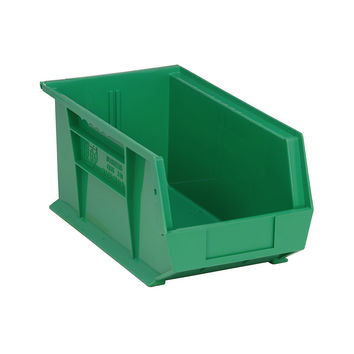 Quantum Storage Systems Ultra Stack And Hang Bin 14-3/4 X 8-1/4 X 7 - Green Pack Of 12