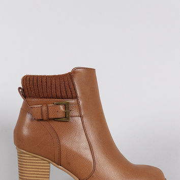 Wild Diva Lounge Ribbed Sweater Cuff Heeled Ankle Boots