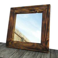 Rustic Wood Mirror - Man Cave - Industrial Mirrors - Country Home Decor