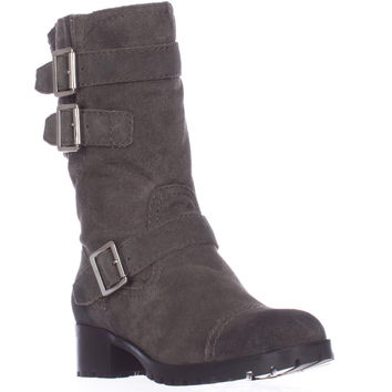 Marc Fisher Arianna Mid Calf Lug Sole Motorcycle Boots, Gray, 5 US