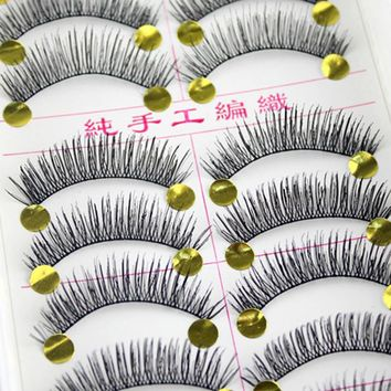 20Pairs Beauty Cotton Stalk Black Long Thick False Eyelashes Synthetic Hair Fake Eye Lashes Extension For Professionals Makeup