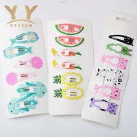 1 card=6 pieces Kids Party Gifts Girls Cartoon Cute Hair Clip Ice cream Hairpin Hair Accessories