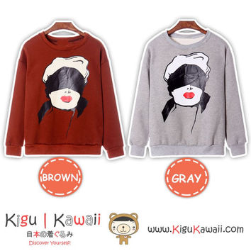 New Girl Character Printed Jacket Harajuku Womens Sweater 2 Colors KK843