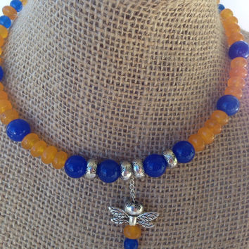 Orange and blue necklace, dragonfly choker, memory wire beaded jewelry, N106