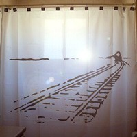 Train Shower Curtain Train Tracks car railroad railway rail choo choo, unique Shower Curtains