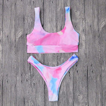 Seamless Minimalist Luxe Sporty Bikini Top and Cheeky Bottom Watercolor With Support Band