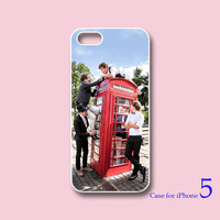 iPhone 4  case, iphone 5 Case --one direction and vintage red telephone box, in durable black or white plastic or silicone