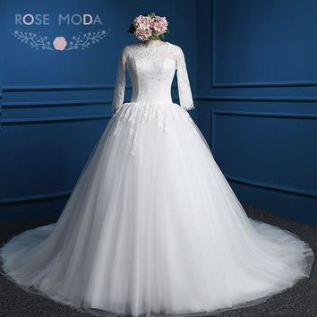 Rose Moda Long Sleeves Wedding Dress High Neck Muslim Wedding Dresses Lace Ball Gown Plus Size Real Photos