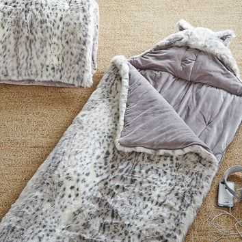 Faux Fur Sleeping Bag W/ Hood, Grey Leopard