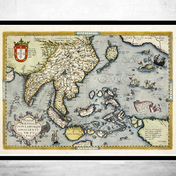 Old Map of India & South East Asia, 1592, Asia Antique map