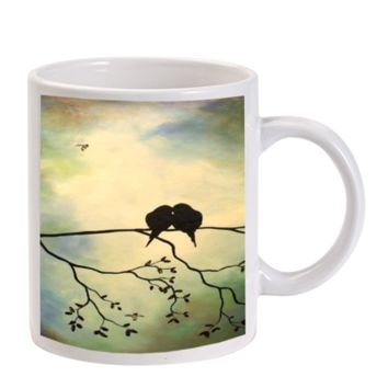Gift Mugs | Birds In Tree Branch Art Painting Ceramic Coffee Mugs