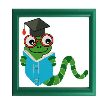 Bookworm Graduation Cross Stitch Pattern