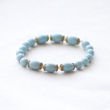 Boho Ceramic Beaded Turquoise Blue Bracelet Beacelet beaded with Turquoise ceramic beads - Minimalist Jewelry - counrty Wedding jewelry
