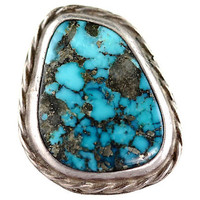 Navajo Morenci Turquoise Ring Sterling Silver