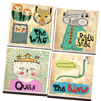 Retro Music Drink Coasters featuring The Who, Queen, Radiohead & The Kinks – Perfect Gift for Musician or Music Lover