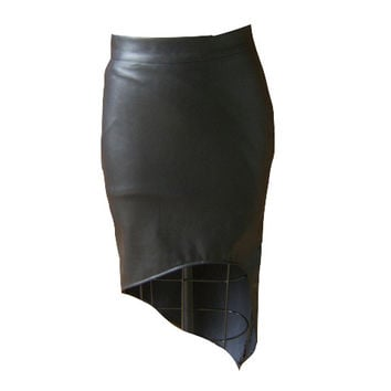 Growze Asymmetrical Vegan Leather Pencil Skirt
