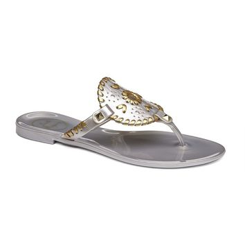 Georgica Jelly Sandal in Silver and Gold by Jack Rogers - FINAL SALE