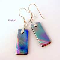 Breath of Color Dangling Dichroic Fused Glass Rainbow Earrings