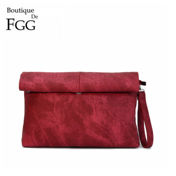 Vintage Red Canvas Kraft Paper Envelope Clutch Lunch Bags For Women Handbags Purse Fashion Brand Crossbody Messenger Bag