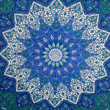 Indian Cotton Blue Wall Art Decor Bohemian Tapestry Full Size Wall 92X82 Indi…
