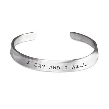 I CAN AND I WILL Stamp Motivational Bracelet Custom Made Jewelry