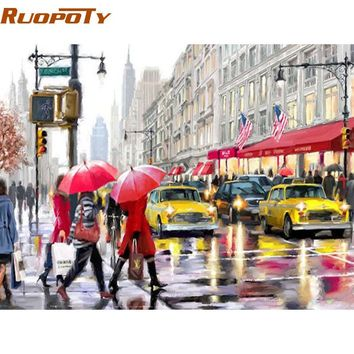 RUOPOTY Modern City Street DIY Painting By Numbers Landscape Handpainted Oil Painting Acrylic Wall Art Picture 40x50cm Artwork