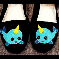 Narwhal Mary Jane Shoes Size 5 Kawaii punk goth by PunkieJunkie