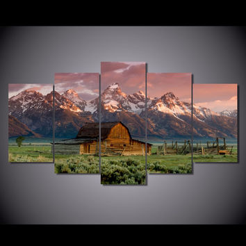 Old Barn 5-Piece Wall Art Canvas