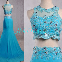 Unique Ice Blue Two Piece Prom Dresses,Backless Prom Dresses,Two Piece Evening Dresses,Bridesmaid Dresses,Homecoming Dresses