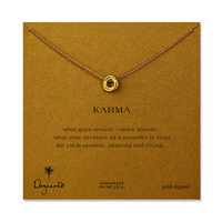 karma rope ring necklace, gold dipped, 18 inch
