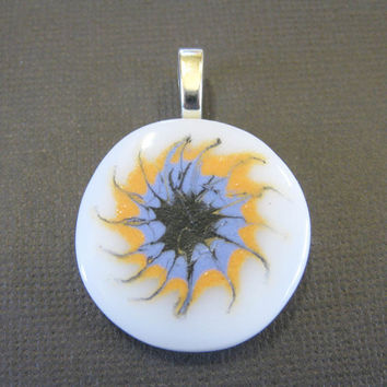 Fused Glass Pendant with Hand Painted Starburst by mysassyglass
