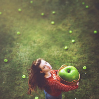 "When I'm Small - 10""x10"" Fine Art Photograph Print (girl green apple orange magic)"