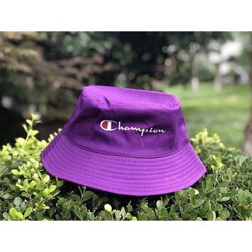 Champion Fashion Embroidery Women Men Summer Multi-Color Shade Sunhat Fisherman Hat Cap Purple I12354-1