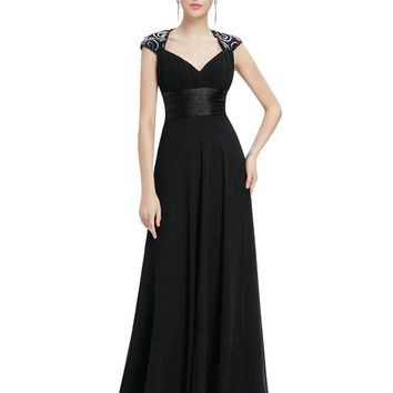 Mother of the Bride V Neck Sequins Chiffon Dress