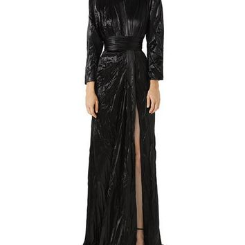 Gucci Long-Sleeve Drape Satin Duchess Evening Gown