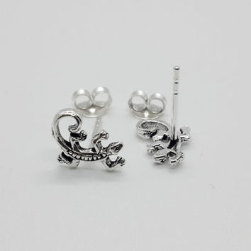 Sterling Silver Lizard Stud Earrings, Gecko Post Earrings, Animal stud earrings, gecko jewelry, lizard jewelry, helix earrings, cartilage