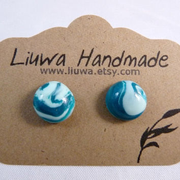 Polymer Clay Earrings Peacock and Mint Marble Clay Dot by Liuwa