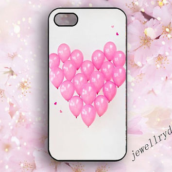 Pink Balloons iPhone 4/4s case,love iphone 5/5s/5c case,Samsung Galaxy s3/s4/s5 Rubber Case,we heart it for you iphone,Couple gifts case