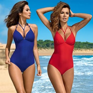 One Piece Womens Plus size Swimwear Halter Vintage Push up Swimsuits
