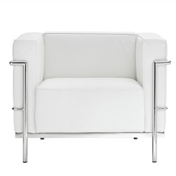 Le Corbusier Style LC3 Armchair in Genuine White Leather