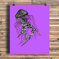 Jellyfish With Pop Color Vintage Engraving, Simplistic, Cute, Minimalist, Colorful Office, Kitchen, Home, Nursery Decor, Unique Gift, Poster