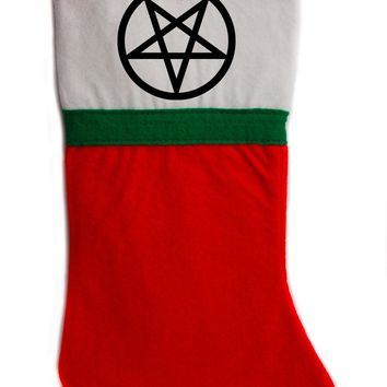 "Inverted Pentagram Christmas Holiday Stocking 16"" Red/White Felt Hanging Sock Santa Stuffer Merry Gothmas"