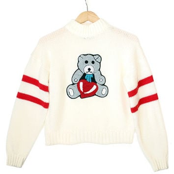 Teddy Bear With Heart Vintage 80s Valentine's Day Tacky Ugly Sweater - The Ugly Sweater Shop
