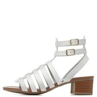White Strappy Low Heel Gladiator Sandals by Charlotte Russe