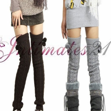 6 Colors Women's Fashion Pair Knit Crochet Winter Leg Warmer Long Leggings Socks = 1958115908