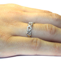 5 Hearts Promise Ring on Hand - Beautiful Promise Rings