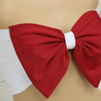 red white bow padding swimsuit spandex bandeau strappless bra bandeau bikini siwmwear bandeau bikini top women's fashion