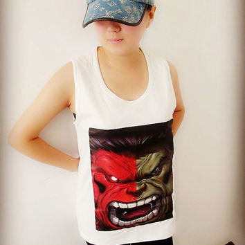 Green and Red Face HULK Pattern Shirt Crop Top Tank Tops T-Shirt , Women Sexy Hipster Shirt , Custom Photo T-Shirt